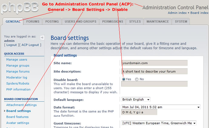 disable phpbb forum