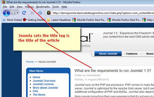 Joomla title tag plugin