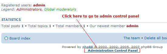 access to phpbb admin-control-panel