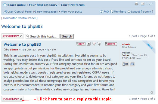 phpBB reply topic