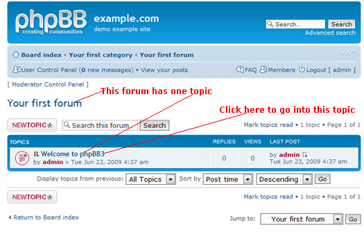 phpBB first forum