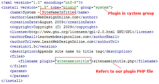 Joomla plugin xml file