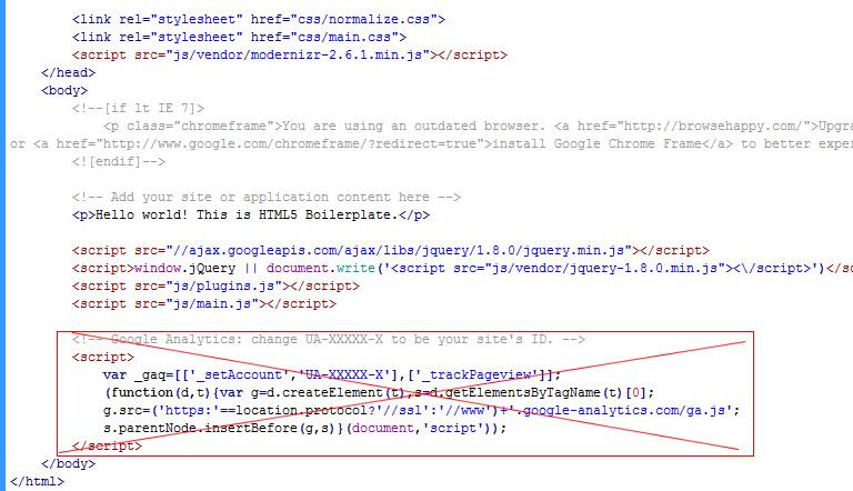 Delete Google Analytics Code