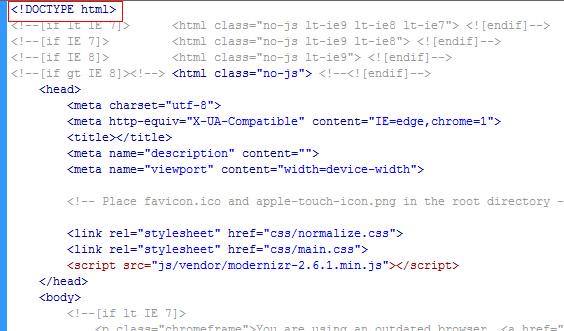 HTML5 doctype