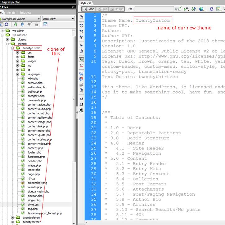 clone wordpress theme folder