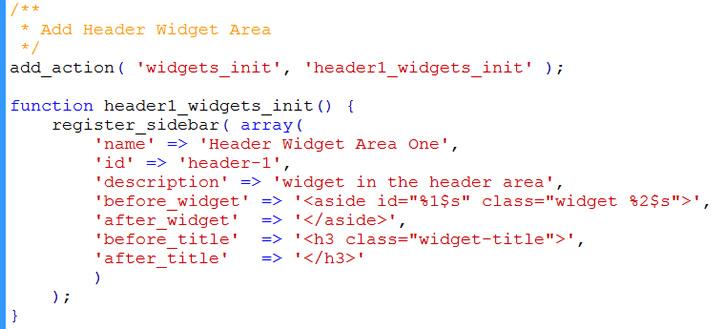 code to register widget