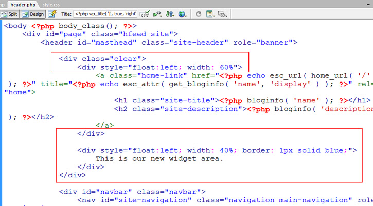 widget area code in template